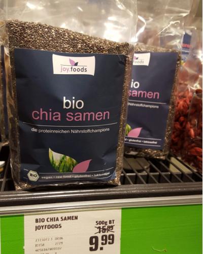REWE: joy.foods bio Chia, 500g, 9,99 €