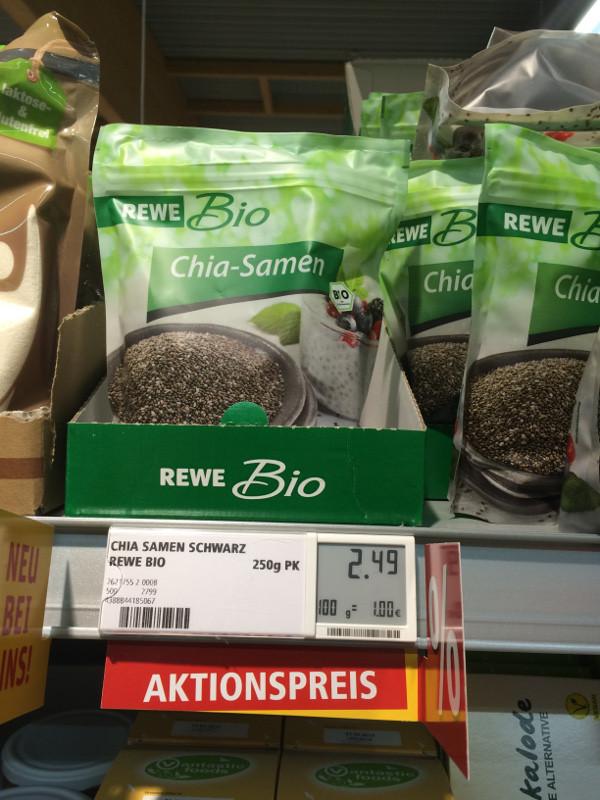 REWE Bio Chiasamen, 250 Gramm, 2,49 €